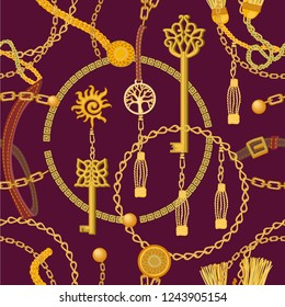 Fashion print with keys, chains, beads, straps and coins. Seamless vector pattern with jewelry elements. Women's fashon collection. On brown background.