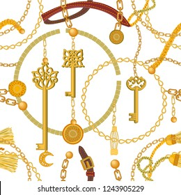 Fashion print with keys, chains, beads, straps and coins. Seamless vector pattern with jewelry elements. Women's fashon collection. On white background.