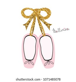 Fashion print with pink ballet shoes. Vector hand drawn illustration.