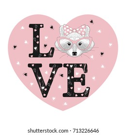 Fashion print with raccoon face in pink heart. Love word.