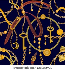 Fashion print with realistic chains, leather straps, belts and golden keys. Seamless vector pattern with metallic accessories. Women's fashon collection. On black background.