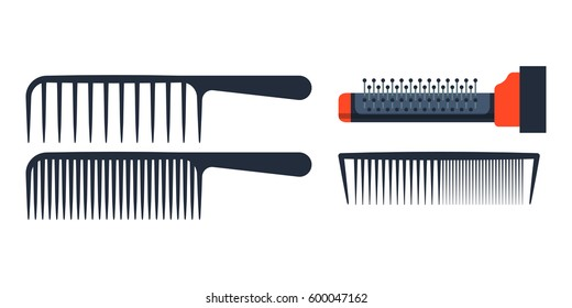 Fashion professional comb icon style hairdresser care equipment and barbershop flat hairbrush grooming curl shape vector illustration.