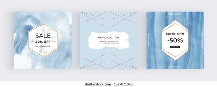 Fashion promotion social media banners. Blue watercolor card with marble, golden line frame. Hand painted paper texture. Modern elegant design for mobile apps, flyers.