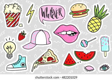 Fashion quirky cartoon doodle patch badges with cute elements. Vector illustration isolated on background. Set of stickers, pins, patches in cartoon comic style of 80s-90s. Vector collection