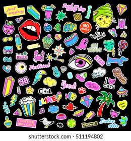 Fashion quirky cartoon doodle patch badges with cute elements. Isolated vector. Set of stickers,pins,patches in comic style of 80s 90s.