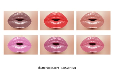 Fashion realistic woman mouth with color lips. Vector illustration.