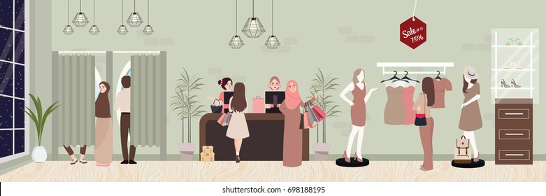 fashion retail woman buy clothing in commercial store boutique inside vector commerce shopping illustration
