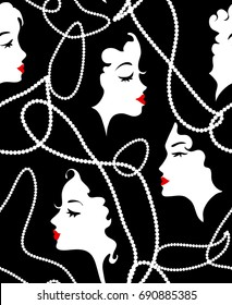 Fashion retro girl seamless pattern. Model Women silhouette, beads, red lips on faces background. Vector illustration. Glamour chic design
