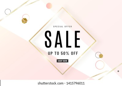Fashion sale banner design background with gold frame, watercolor golden brush, special offer text, geometric elements. Up to 50 percent OFF. Vector illustration.