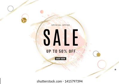 Fashion sale banner design background with gold circle frame, watercolor rose pink brush, special offer text, geometric elements. Up to 50 percent OFF. Vector illustration.