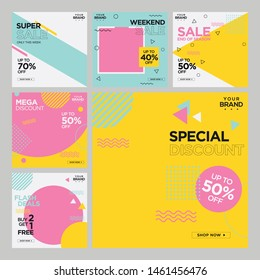 Fashion Sale Hipster Style social media post design template
