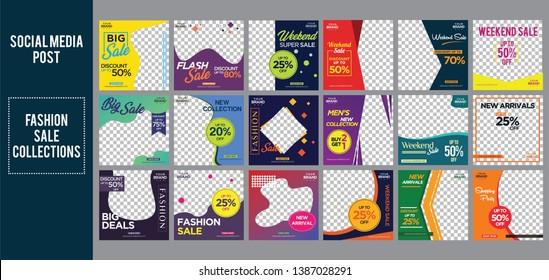 fashion sale social media post design template Bundle Premium Vector