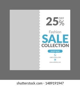 Fashion sale social media post square banner template - Vector