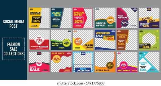 fashion sale social media post design template Bundle Premium Vector