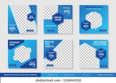 Fashion Sale social media post Blue design template Premium Vector