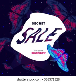 Fashion Sale stylish banner with butterfly on dark background. Sale template. Big sale. Sale tag. Sale poster. Sale vector. Super Sale and special offer. Up to 50% off. Vector illustration.
