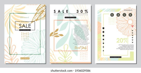 Fashion sales floral banners with pastel color palette. Document placard invitation template banners. Beauty, spa and cosmetics cover designs with artistic promotional advertisements. Backdrop vector