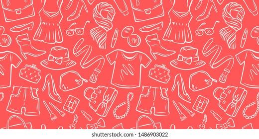 Fashion seamless background. Shopping, clothing store vector illustration