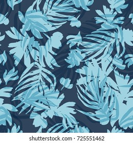 Fashion Seamless Beautiful Pattern Background with Palm Leaves and Floral.Hand Drawn Expressive Vector Painting Illustration  for Surface , Invitation , Notebook, Banner , Wrap Paper ,Textiles