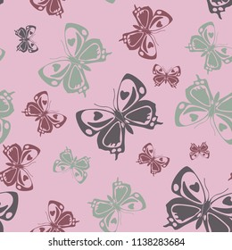 Fashion seamless butterfly iterative template isolated on contrast back layer. Flying butterfly repeat theme vector. Wildlife insect fauna clipart for marketing purpouses.