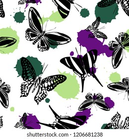 Fashion seamless butterfly kite background with blotter on white.  Nature butterfly hover theme vector. Repeating insect soar artwork for interior.