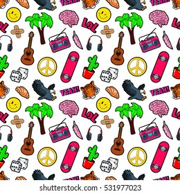 Fashion Seamless Comic Style Background with Brain, Lol, Cactus, Guitar and Palm. Vector Retro Pattern