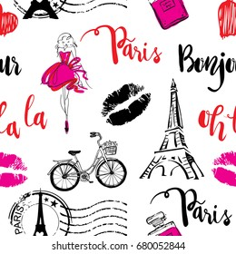 Fashion seamless pattern. Bonjour Paris. pattern with original calligraphic fonts, sketch Eiffel Tower and lips. for  fashion clothes, t shirt, child, wrapping paper. Creative girlish design