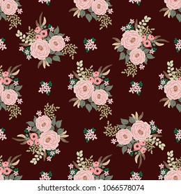 Fashion seamless pattern with feathers, antique roses in a folk bohemian style for stylish fabrics, prints, textile, wallpaper. Trendy floral print. Boho chic millefleurs