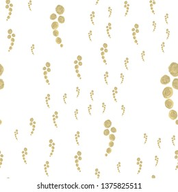 Fashion Seamless Pattern with figures Gold color. For design, textile, pattern fills, box, posters, cards, web page background etc. Pattern under the mask. Vector.