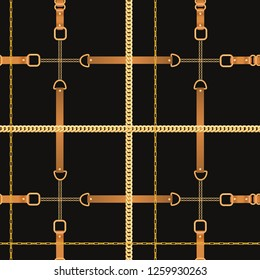 Fashion Seamless Pattern with Golden Chains and Straps. Chain, Braid and jewelry elements Background for Fabric Design, Textile, Wallpaper. Vector illustration