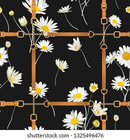 Fashion Seamless Pattern with Golden Chains, Straps and Daisy Flowers. Fabric Textile Floral Print with Chamomile and Jewelry Elements. Vector illustration