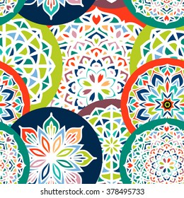 Fashion seamless pattern with mandala, doily round, design elements, flower background,abstract lace decoration