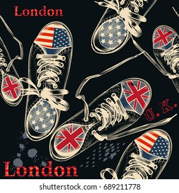 Fashion seamless pattern with sports boots decorated by British and USA flags