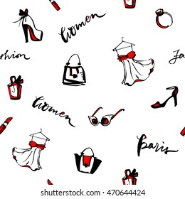 Fashion seamless pattern. Sunglasses, red lipstick, dress, bags, perfume, heels background. Hand drawn vector illustration. Glamour texture