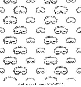 Fashion seamless pattern with woman's eyes face expressions: sleepy. Hand drawn vector art on white background.