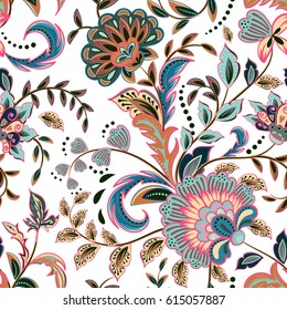 Fashion seamless texture with fantasy flowers. Vector hand drawing seamless pattern. Pastel pink blue brown on white background.