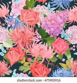 fashion seamless texture with lovely flowers and butterflies. floral mix for your design