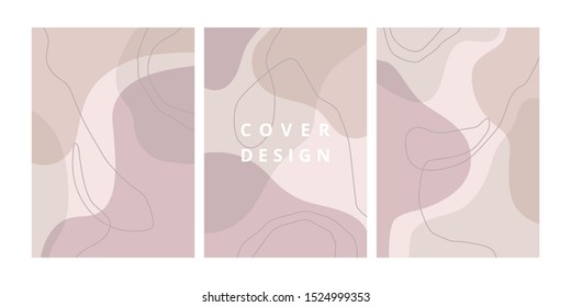 Fashion set of abstract backgrounds with organic shapes and hand draw line in pastel colors. Modern design template with space for text. Minimal stylish cover for branding design. Vector illustration