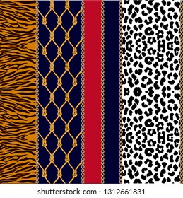 Fashion set with chains, ropes and animal prints. Seamless vector pattern with jewelry elements and different textures. leopard spots, zebra stripes. On black background.