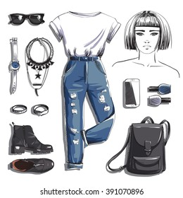 Fashion set. Illustration stylish and trendy clothing with girl. T-shirt, jeans, shoes, backpack and accessories. Vector