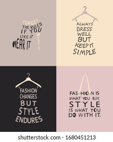 Fashion set with quotes for design. Vector illustration