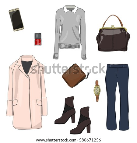 67dfde6c9919 Fashion Set Spring Womens Clothing Stock Vector (Royalty Free ...