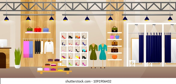 Fashion Shop. Interior Clothes Store. Banner With Copy Space. Flat. Vector illustration