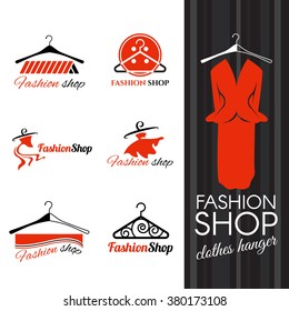 Fashion shop logo - Clothes hanger and studs dress vector design