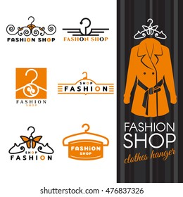 Fashion shop logo - orange shirts and Clothes hanger logo vector set design