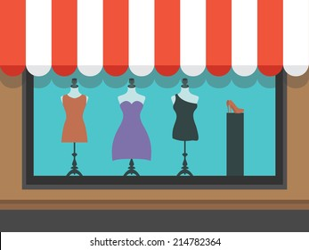 Fashion shopfront window with mannequins, vector illustration