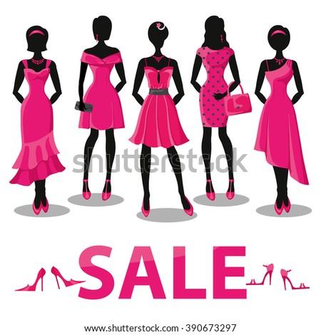 fashion shopping girls illustration vector sale pretty woman pink