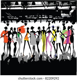 Fashion Show Crowd Vector