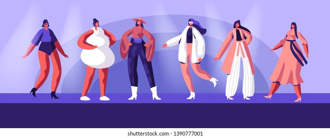 Fashion Show with Top Models Wearing Trendy Haute Couture Clothing and Demonstrating It on Runway. Girls in Trendy Clothing Stand in Raw on Scene or on Catwalk, Event. Cartoon Flat Vector Illustration