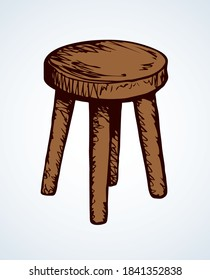 Fashion single dining tabouret on 4 sticks on light room backdrop. Freehand outline dark black ink hand drawn logo emblem pictogram sketchy in ancient art doodle etched style pen on paper text space